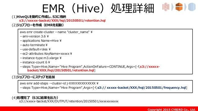 Copyright 2015 CYBIRD Co., Ltd. EMR(Hive)処理詳細(1)HiveQLを動的に作成し、S3に格納 s3://xxxxx-backet/XXX/hql/20150501/retention.hql (2)ジョ...