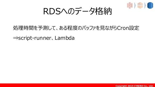 Copyright 2015 CYBIRD Co., Ltd. RDSへのデータ格納 処理時間を予測して、ある程度のバッファを見ながらCron設定 ⇒script-runner、Lambda