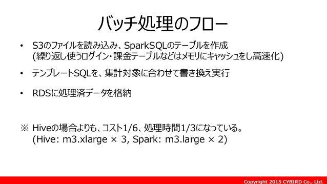 Copyright 2015 CYBIRD Co., Ltd. バッチ処理のフロー • S3のファイルを読み込み、SparkSQLのテーブルを作成 (繰り返し使うログイン・課金テーブルなどはメモリにキャッシュをし高速化) • テンプレートSQL...