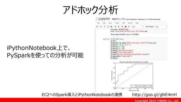 Copyright 2015 CYBIRD Co., Ltd. アドホック分析 EC2へのSpark導入とiPythonNotebookの連携 http://goo.gl/gNE4mH iPythonNotebook上で、 PySparkを使っ...