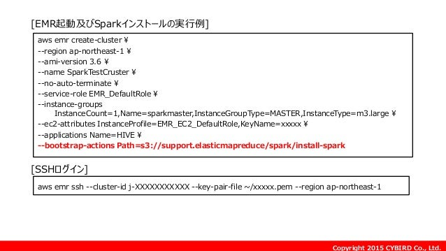 Copyright 2015 CYBIRD Co., Ltd. [EMR起動及びSparkインストールの実行例] aws emr create-cluster ¥ --region ap-northeast-1 ¥ --ami-version ...