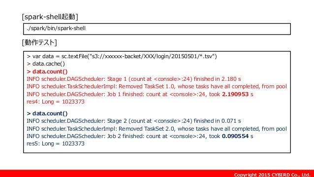 """Copyright 2015 CYBIRD Co., Ltd. > var data = sc.textFile(""""s3://xxxxxx-backet/XXX/login/20150501/*.tsv"""") > data.cache() > d..."""
