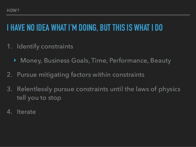 WHAT ARE THE ACTUAL CONSTRAINTS?