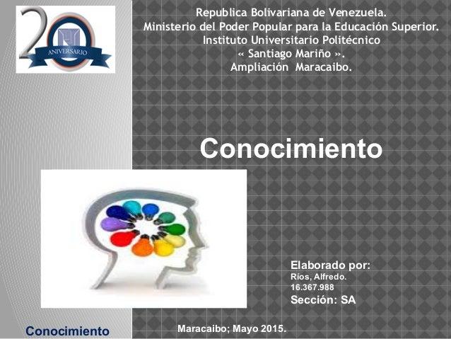 Conocimiento Elaborado por: Ríos, Alfredo. 16.367.988 Sección: SA Republica Bolivariana de Venezuela. Ministerio del Poder...