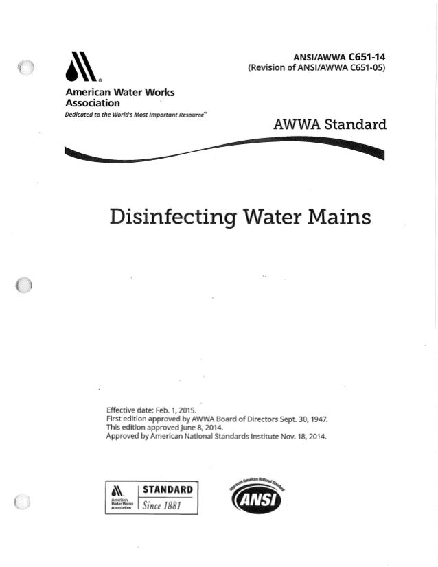Awwa C651 14 Revision Dis Water Mains