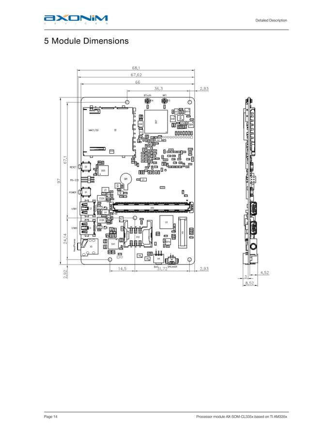 Detailed Description Page 14 Processor module AX-SOM-CL335x based on TI AM335x 5 Module Dimensions