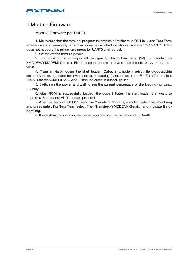 Detailed Description Page 13 Processor module AX-SOM-CL335x based on TI AM335x 4 Module Firmware Module Firmware per UART0...