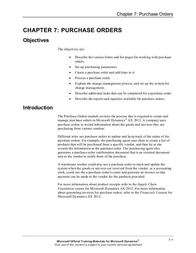 Chapter 7: Purchase OrdersCHAPTER 7: PURCHASE ORDERSObjectives                 The objectives are:                        ...