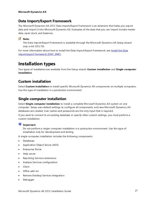 Ax 2012 r3 installation guide.