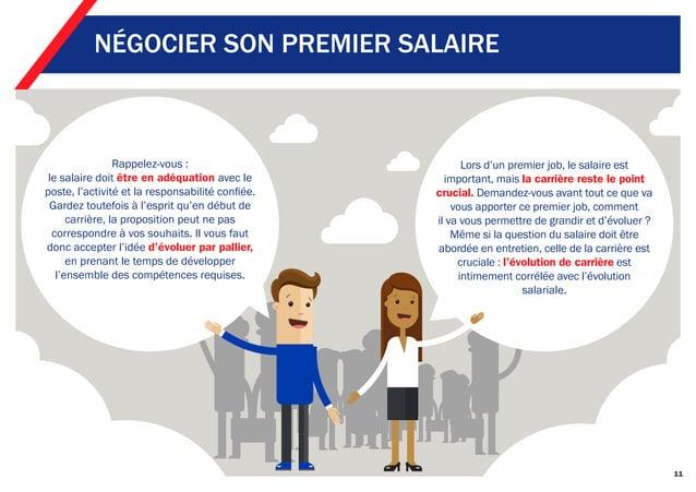 11 NÉGOCIER SON PREMIER SALAIRE Rappelez-vous : le salaire doit être en adéquation avec le poste, l'activité et la respons...