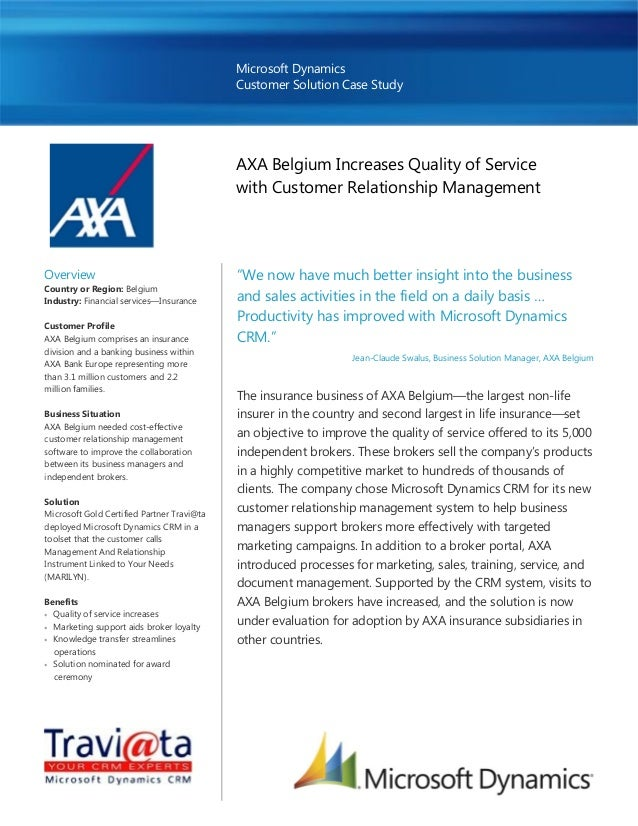 Microsoft Dynamics Customer Solution Case Study AXA Belgium Increases Quality of Service with Customer Relationship Manage...