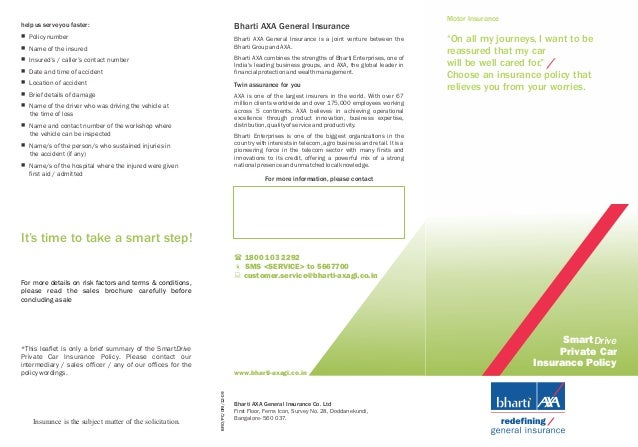Bharti Axa Car Insurance Policy Brochure