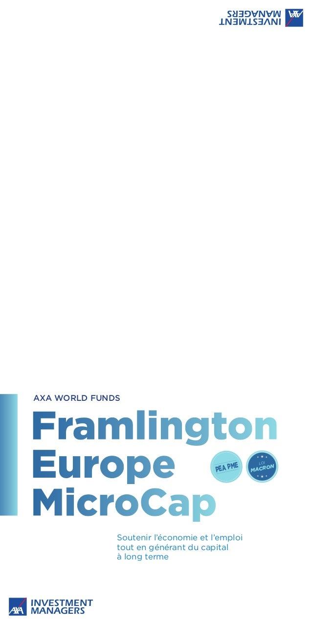 PEA PME Soutenir l'économie et l'emploi tout en générant du capital à long terme AXA WORLD FUNDS MACRON LOI