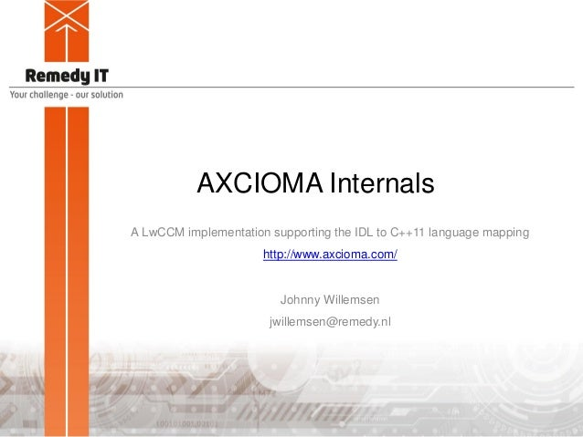 AXCIOMA Internals A LwCCM implementation supporting the IDL to C++11 language mapping http://www.axcioma.com/ Johnny Wille...
