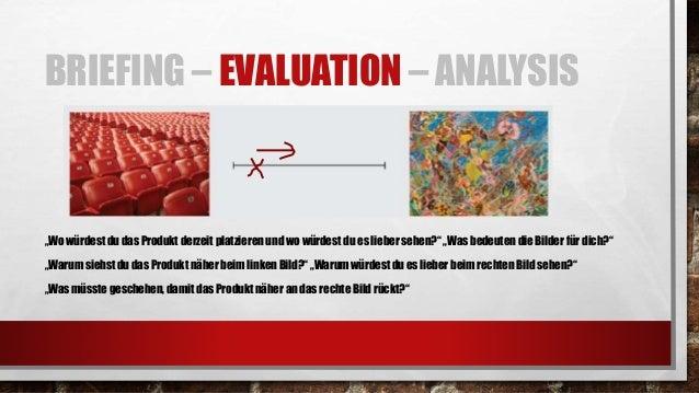 BRIEFING – EVALUATION – ANALYSIS • ERKLÄREN, WIE DER PROZESS ABLAUFEN WIRD UND WARM-UP ÜBUNG (WURDE ALLES VERSTANDEN?) • B...