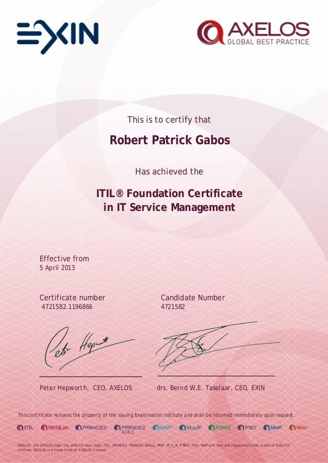Itil Foundation It Service Management Axelos Exin