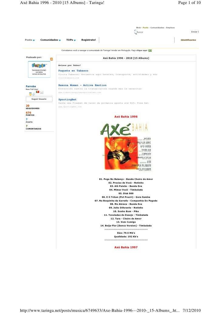 Axé Bahia 1996 - 2010 [15 Albums] - Taringa!                                                                              ...