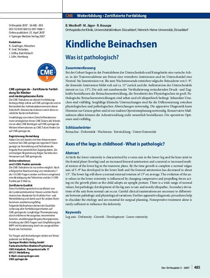 CME Weiterbildung • Zertifizierte FortbildungOrthopäde 2007 · 36:485–500                          B. Westhoff · M. Jäger ·...