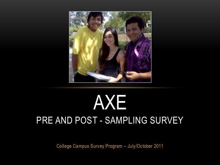 AXEPRE AND POST - SAMPLING SURVEY    College Campus Survey Program – July/October 2011