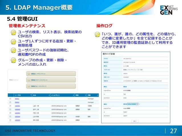 5.4 管理GUI 管理者メンテナンス ユーザの検索、リスト表示、検索結果の CSV出力 ユーザ1人ずつに対する追加・更新・ 削除処理 ユーザパスワードの強制初期化、 通知書PDFの作成 グループの作成・更新・削除・ メンバの出し入れ 操作ログ...
