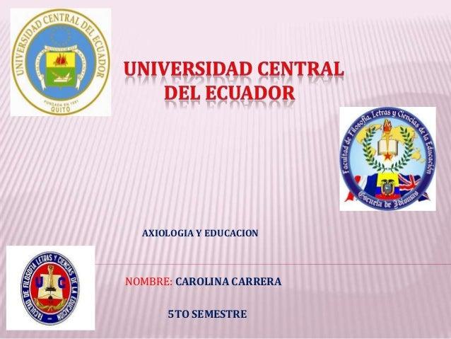 AXIOLOGIA Y EDUCACIONNOMBRE: CAROLINA CARRERA      5TO SEMESTRE