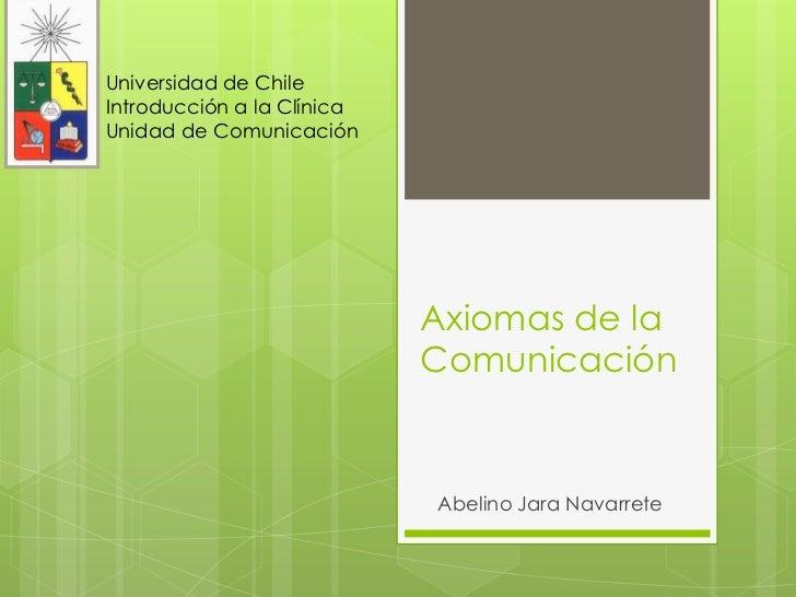 Universidad de ChileIntroducción a la ClínicaUnidad de Comunicación                            Axiomas de la              ...