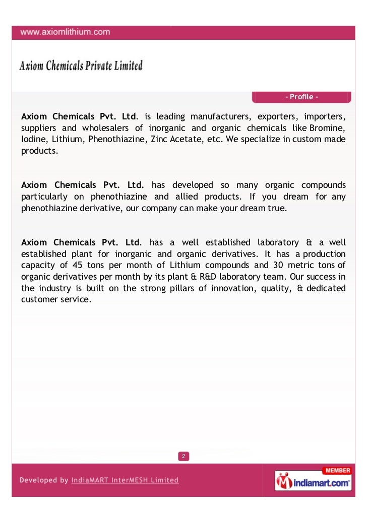 - Profile -Axiom Chemicals Pvt. Ltd. is leading manufacturers, exporters, importers,suppliers and wholesalers of inorganic...
