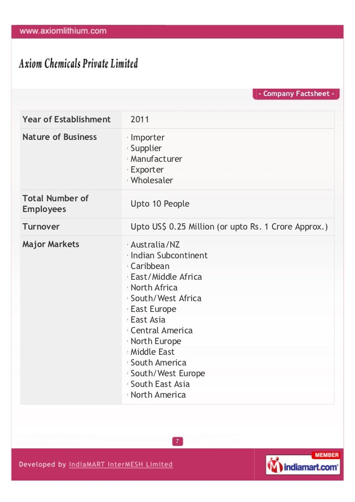 - Company Factsheet -Year of Establishment   2011Nature of Business      Importer                        Supplier         ...
