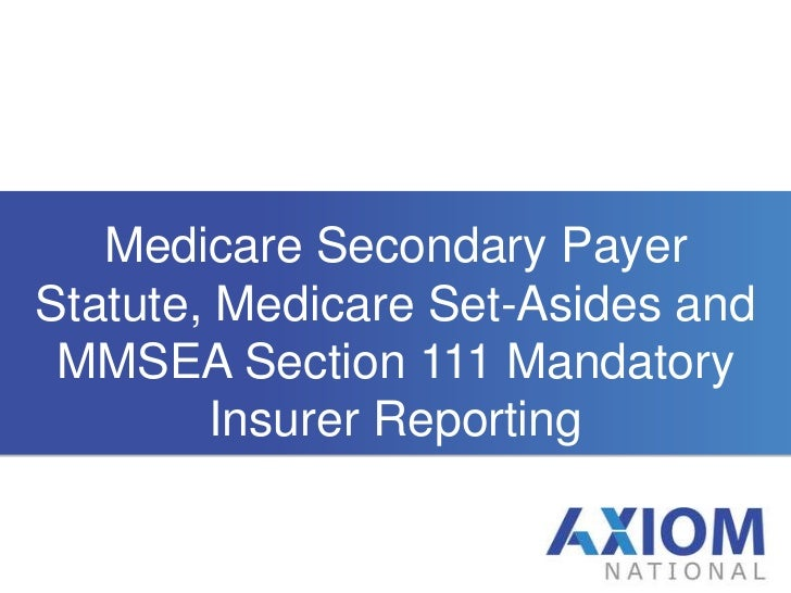Medicare Secondary Payer Statute, Medicare Set-Asides and MMSEA Section 111 Mandatory Insurer Reporting<br />