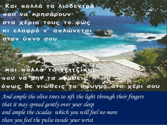 And ample the olive trees to sift the light through their fingers that it may spread gently over your sleep and ample the ...