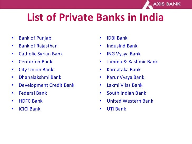 List of Private Banks in India <ul><li>Bank of Punjab   </li></ul><ul><li>Bank of Rajasthan   </li></ul><ul><li>Catholic S...