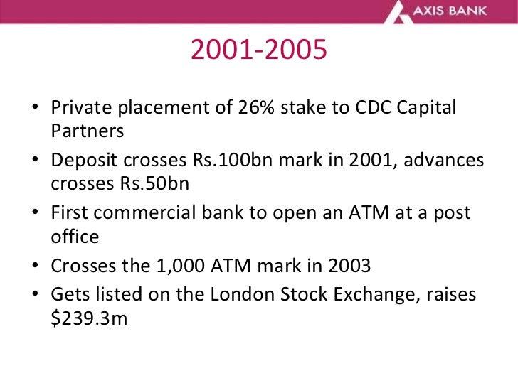 2001-2005 <ul><li>Private placement of 26% stake to CDC Capital Partners </li></ul><ul><li>Deposit crosses Rs.100bn mark i...