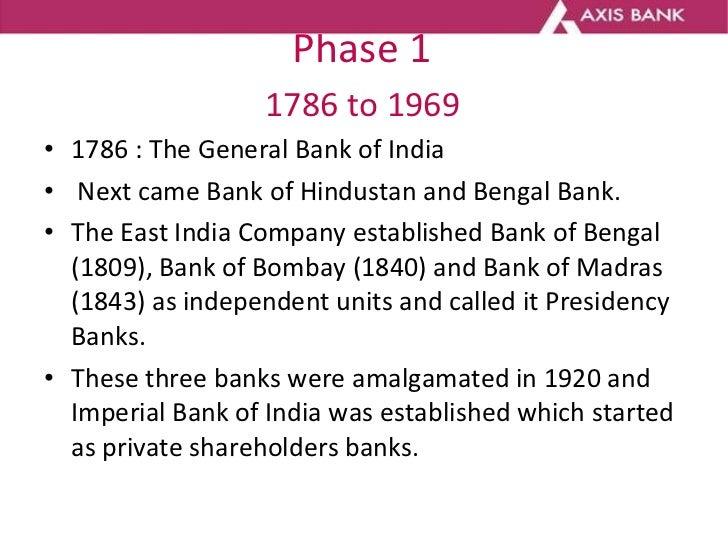 Phase 1   1786 to 1969  <ul><li>1786 : The General Bank of India  </li></ul><ul><li>Next came Bank of Hindustan and Bengal...