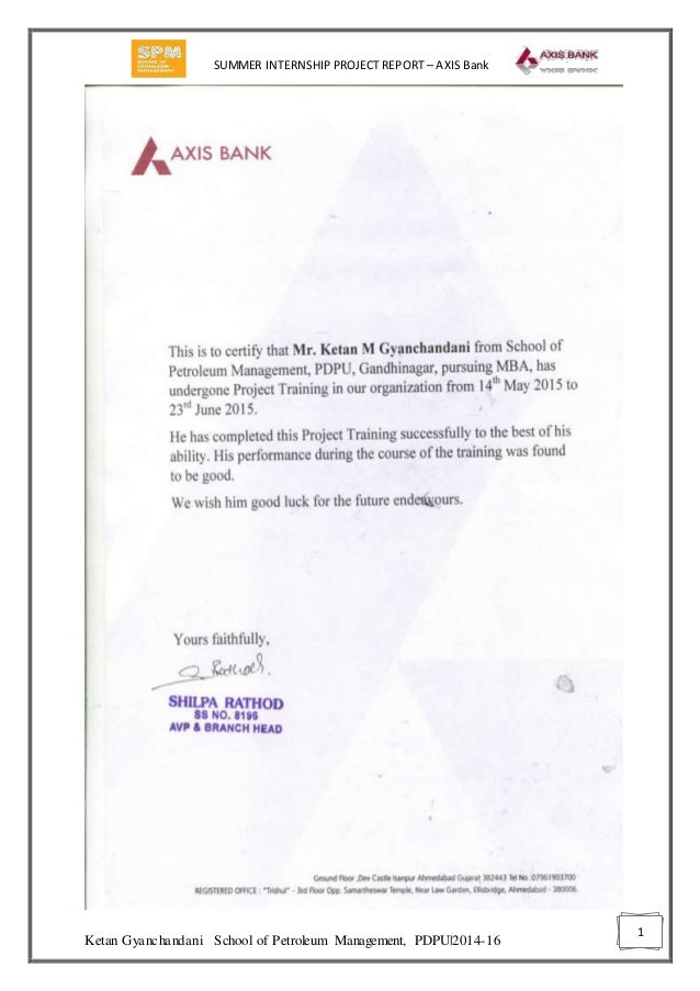 major project report for mba finance in axis bank