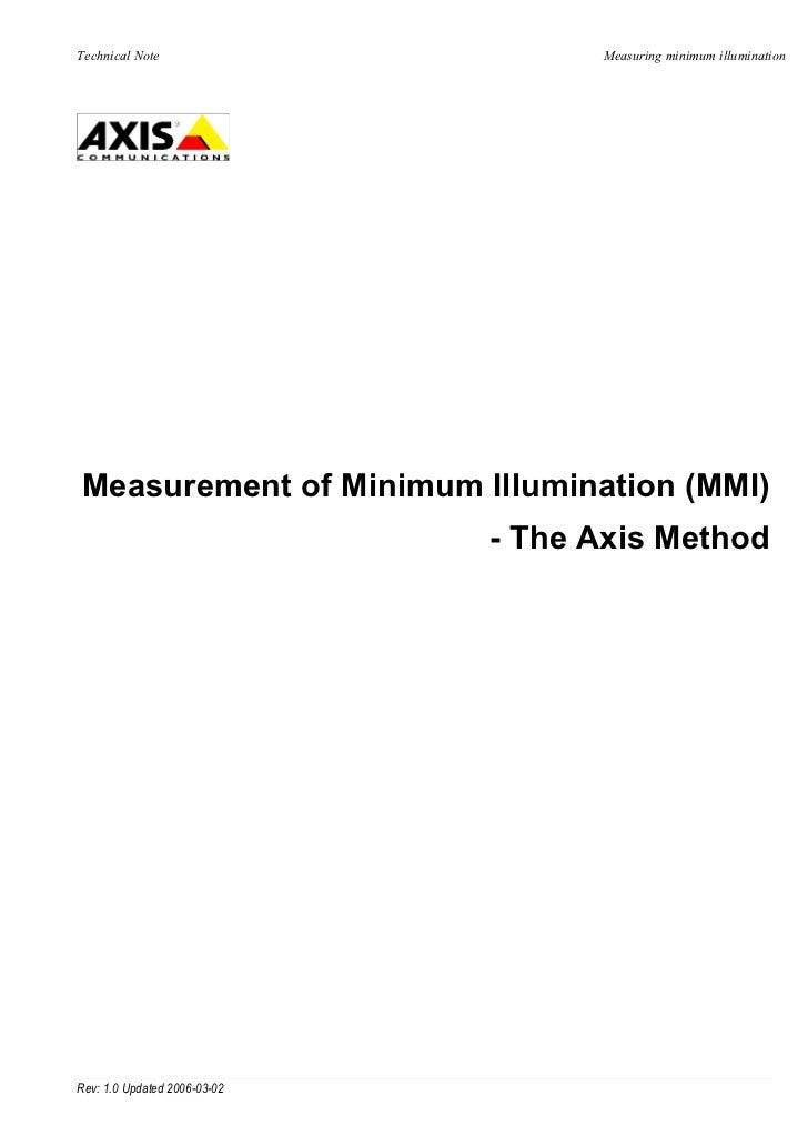 Technical Note                      Measuring minimum illuminationMeasurement of Minimum Illumination (MMI)               ...