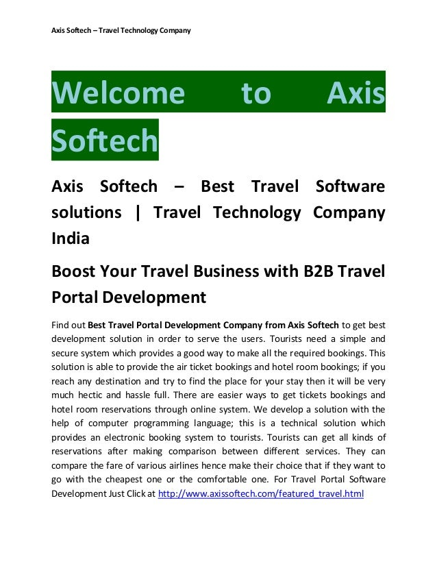 Axis Softech – Travel Technology Company  Welcome Softech  to  Axis  Axis Softech – Best Travel Software solutions | Trave...