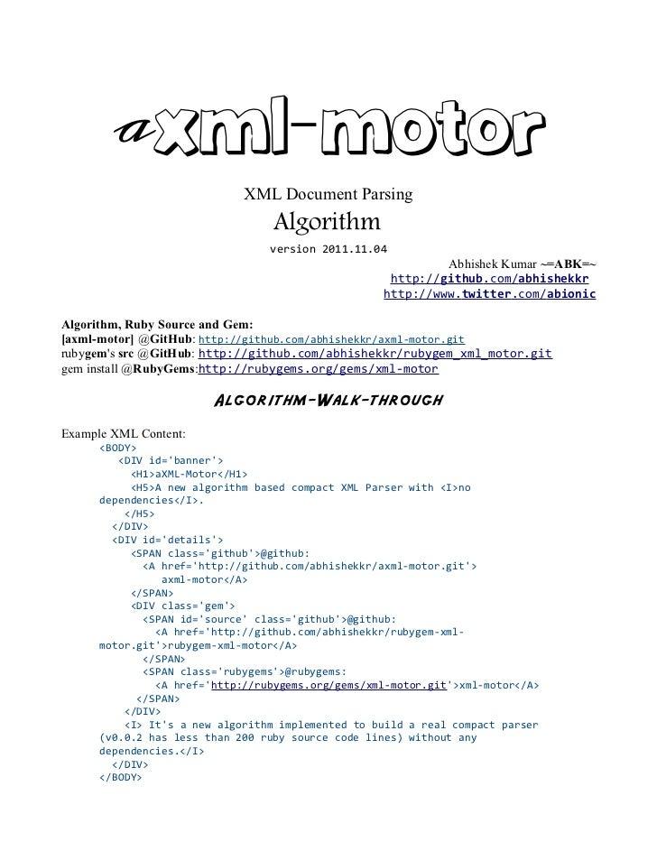aXML-Motor                             XML Document Parsing                                  Algorithm                    ...