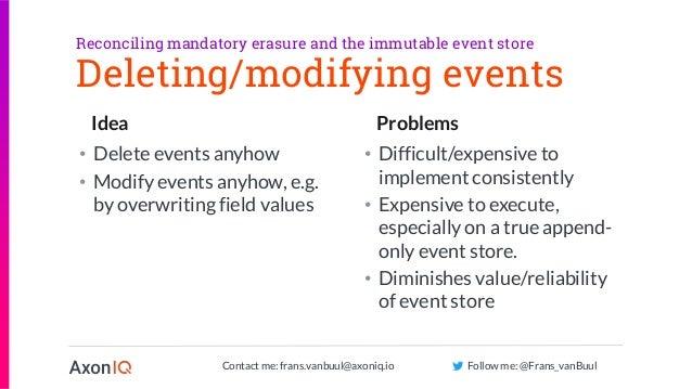 Contact me: frans.vanbuul@axoniq.io Follow me: @Frans_vanBuul Idea Problems Deleting/modifying events • Delete events anyh...
