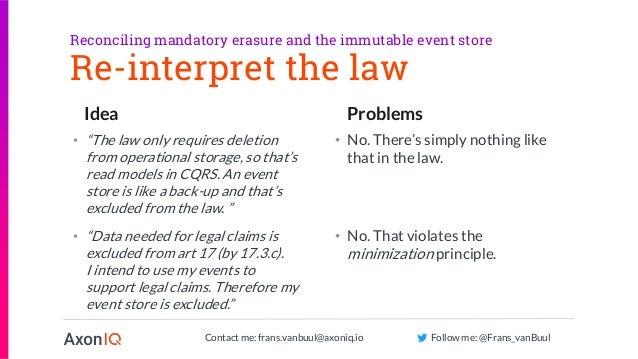 Contact me: frans.vanbuul@axoniq.io Follow me: @Frans_vanBuul Idea Problems Re-interpret the law • No. That violates the m...