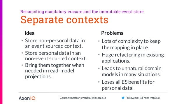 Contact me: frans.vanbuul@axoniq.io Follow me: @Frans_vanBuul Idea Problems Separate contexts • Store non-personal data in...