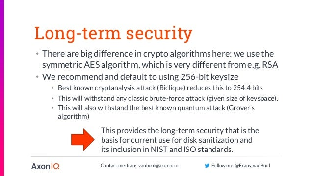 Contact me: frans.vanbuul@axoniq.io Follow me: @Frans_vanBuul Long-term security • There are big difference in crypto algo...