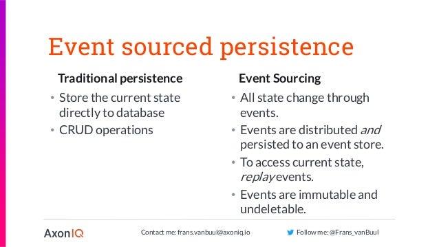 Contact me: frans.vanbuul@axoniq.io Follow me: @Frans_vanBuul Traditional persistence Event Sourcing Event sourced persist...