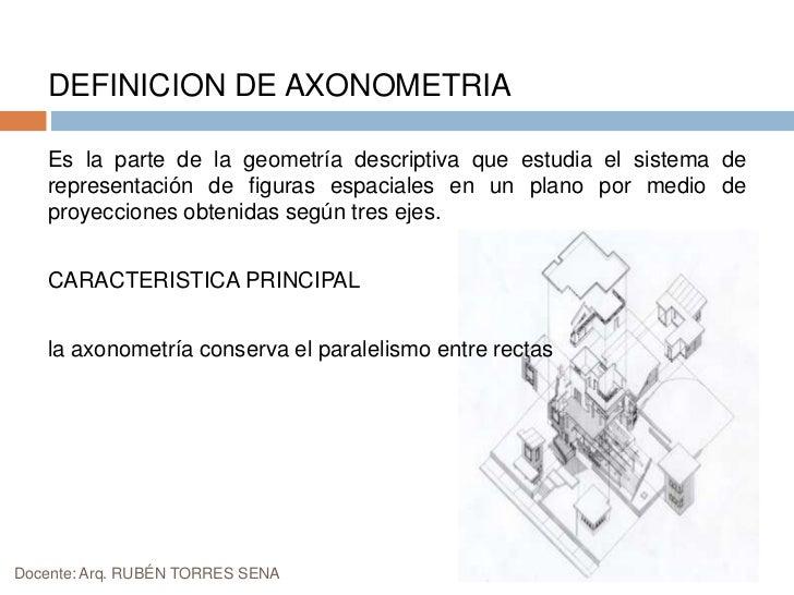 DEFINICION DE AXONOMETRIA<br />Es la parte de la geometría descriptiva que estudia el sistema de representación de figuras...
