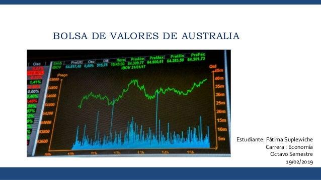 BOLSA DE VALORES DE AUSTRALIA Estudiante: Fátima Suplewiche Carrera : Economía Octavo Semestre 19/02/2019