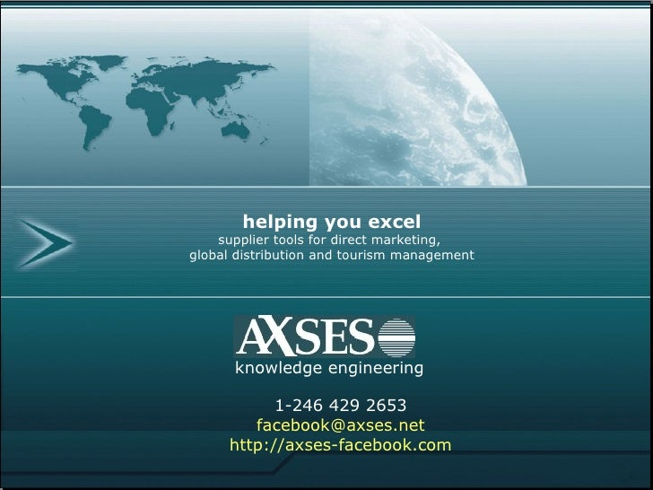 AXSES facebook travel marketing                 helping you excel          supplier tools for direct marketing,      globa...