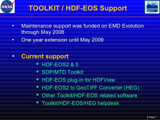 Status of HDF-EOS, Related Software, and Tools