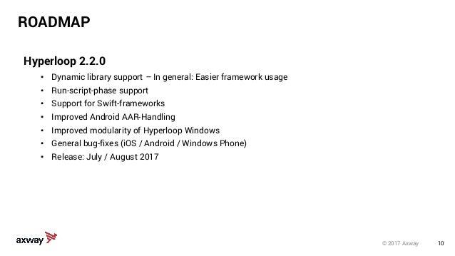 10© 2017 Axway ROADMAP Hyperloop 2.2.0 • Dynamic library support – In general: Easier framework usage • Run-script-phase s...