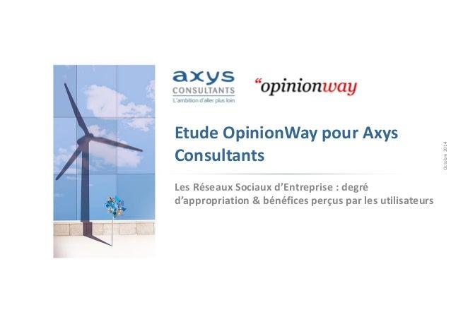 Etude OpinionWaypour Axys Consultants  Les Réseaux Sociaux d'Entreprise : degré d'appropriation & bénéfices perçus par les...