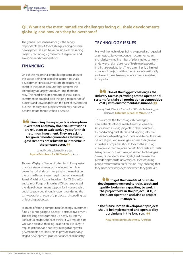Jordan International Oil Shale Report 2014