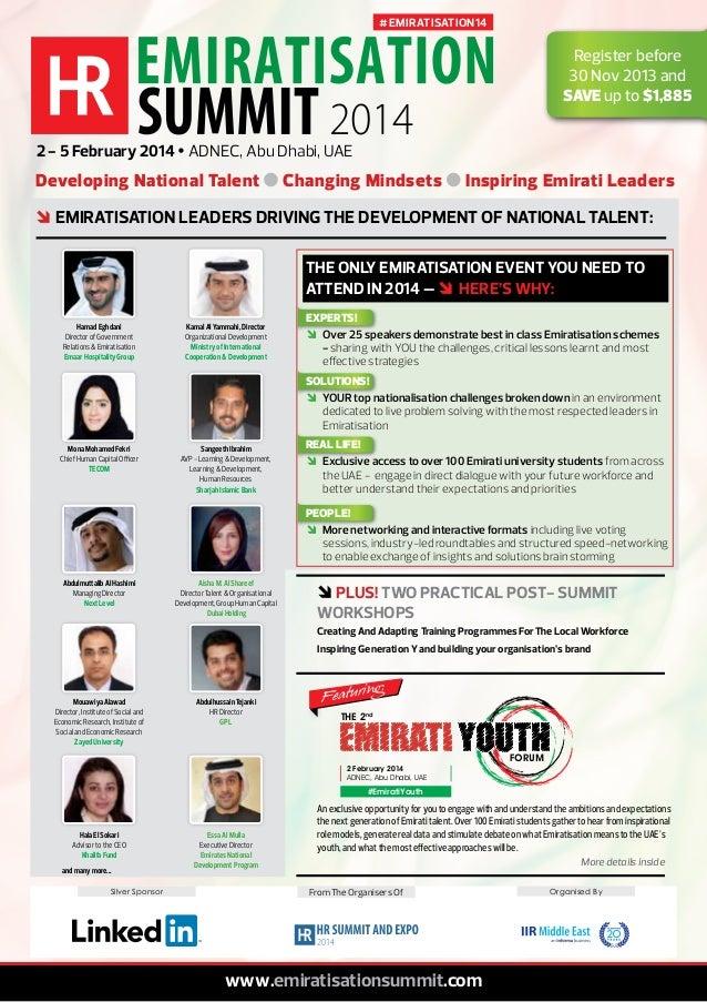 # EMIRATISATION14  Register before 30 Nov 2013 and SAVE up to $1,885 2 - 5 February 2014 Ÿ ADNEC, Abu Dhabi, UAE  Developi...
